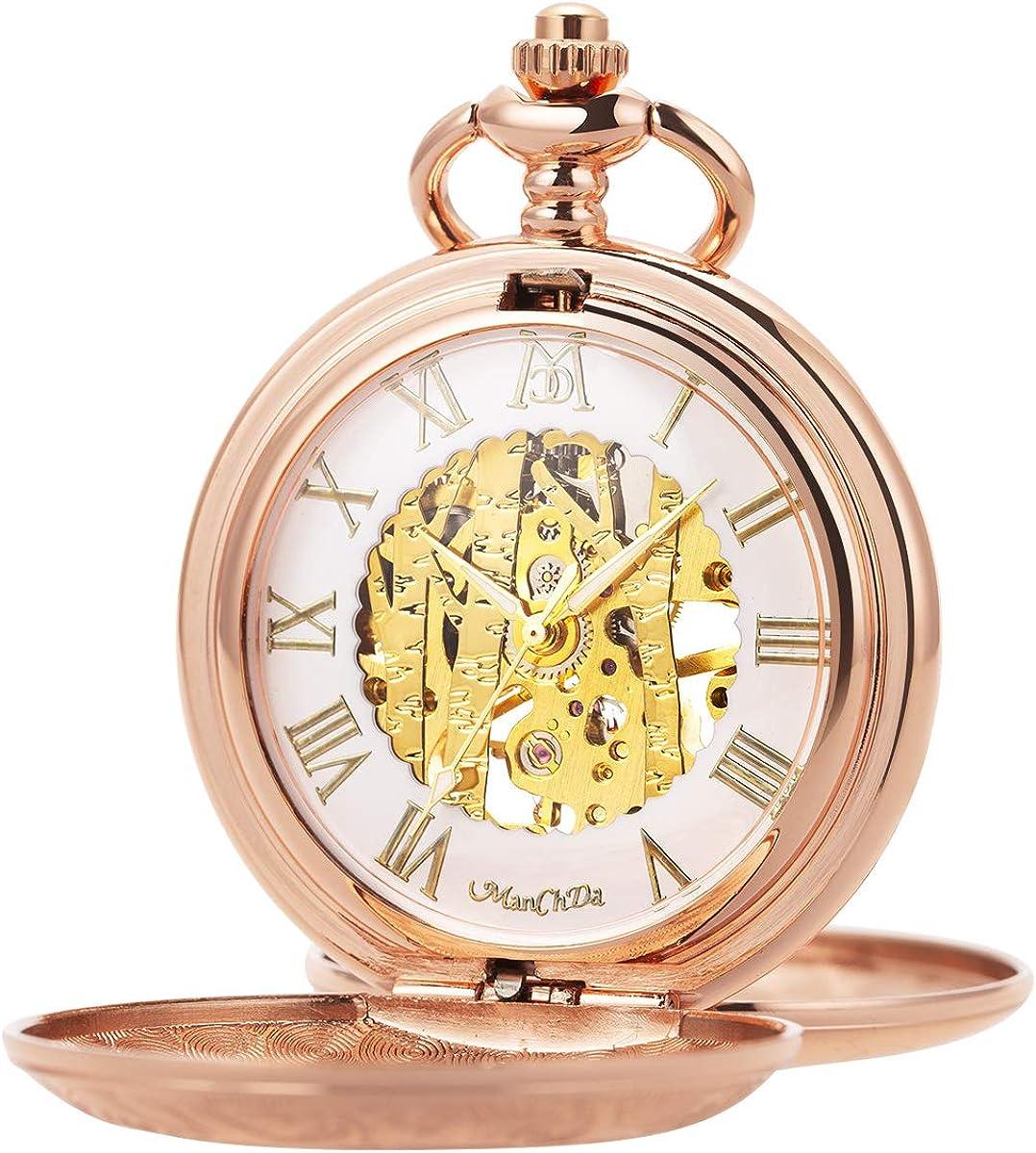 Reloj de Bolsillo - Rosa Rosada Dorado ManChDa Grabado Caso Doble Cazador Esqueleto Esfera Blanca Visible Movimiento mecánico con Cadena para Hombres Mujeres + Caja de Regalo: Amazon.es: Relojes