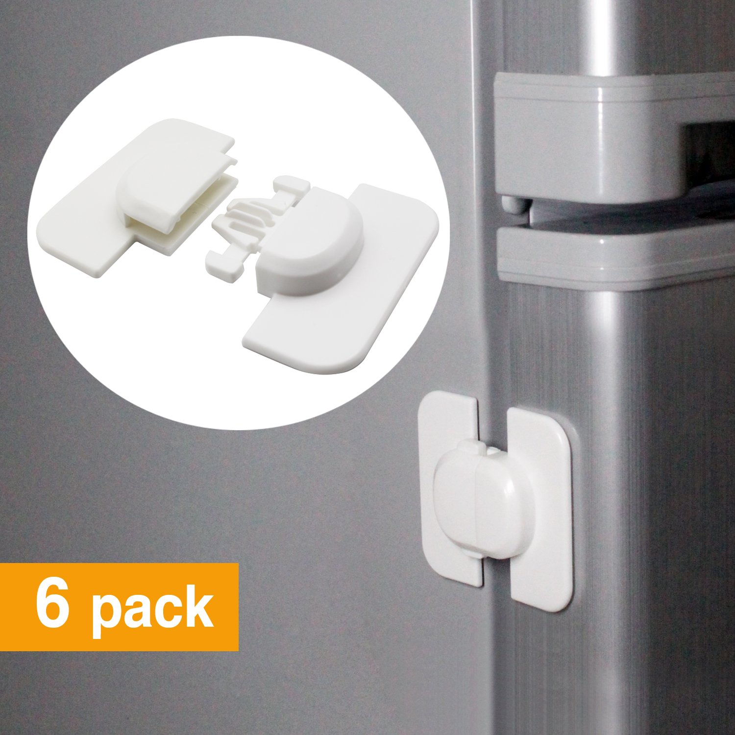 veecom Child Safety Locks for Refrigerators Doors Cabinet Drawers 6 Pack Baby Proof Locks (Upgrade) by veecom (Image #1)