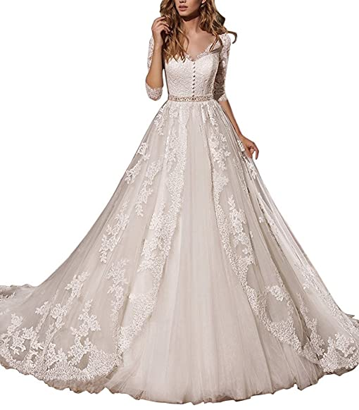 Fanciest Women\'s Lace Wedding Dresses With 3/4 Sleeves Bridal Gowns ...