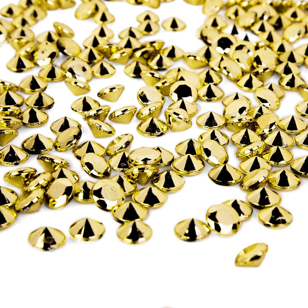 Koyal Wholesale Assorted 10mm Metallic Gold Acrylic Diamond Vase Fillers for Centerpieces, 2 lb Bulk Gem Fillers for Table Scatter, Centerpieces, Decorations or Crafts for Wedding, Events, Home Decor