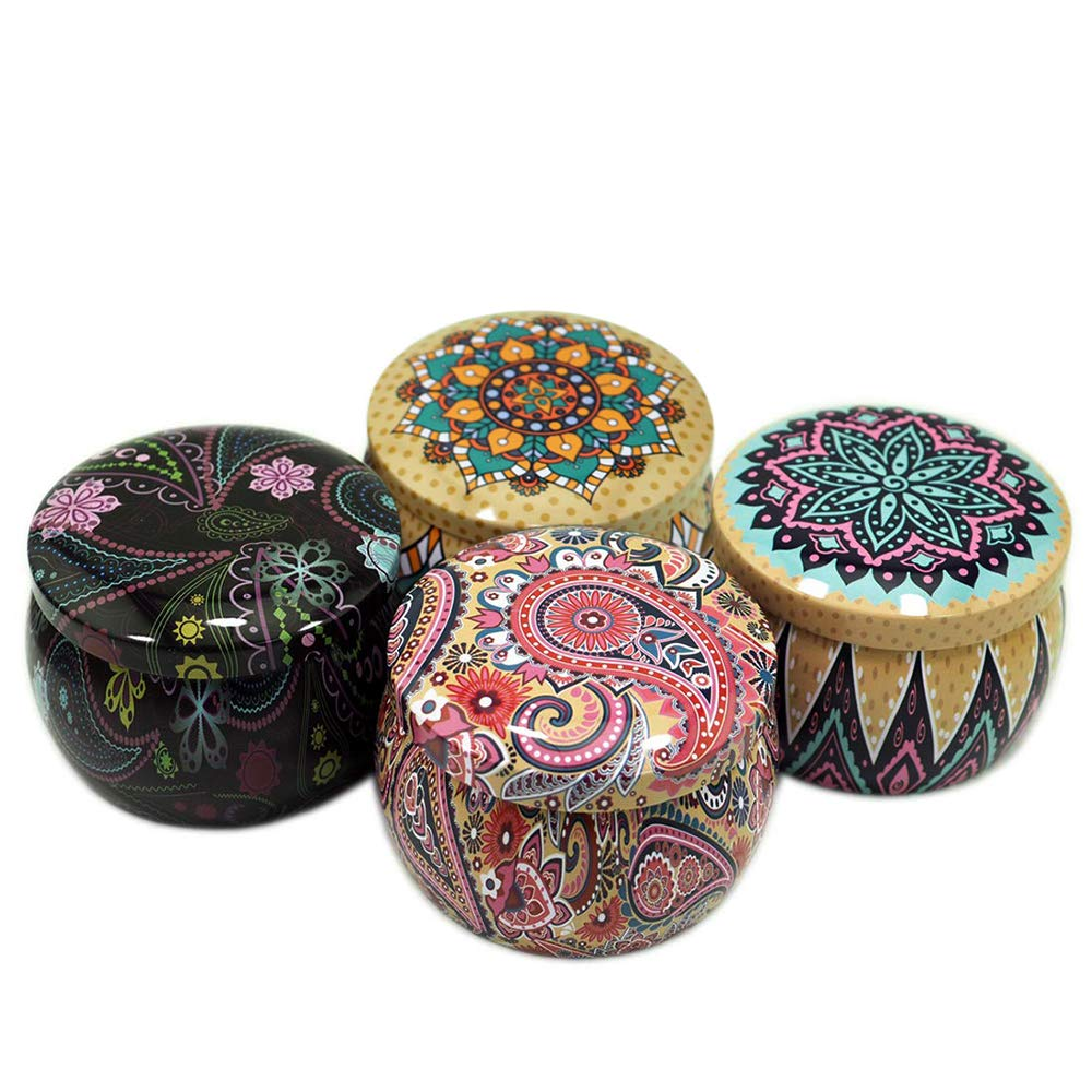 Yodooshi 4 pcs DIY Candle Tin Container, Metal Candle Making Jars, Retro Decorative Boxes Candy, Spices, Balms Storage Case