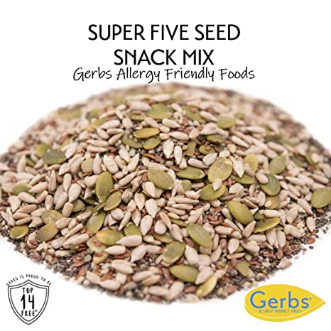 Gerbs Raw Super 5 Seed Mix, 2 LBS. - Top 14 Food Allergy Free & NON GMO - Vegan & Keto Safe (Pumpkin, Sunflower, Chia, Flax, & Hemp Seeds)