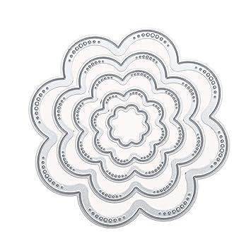 whitelotous 5pcs corte muere Stencil Plantilla Molde de metal para tarjeta de papel DIY álbum de recortes (moleteado círculo): Amazon.es: Juguetes y juegos