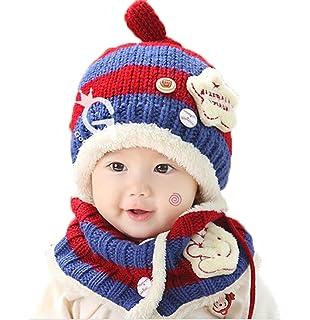 JT-Amigo Sciarpa e Berretto Cappello Invernale a Maglia Bimba Bambina  Disegni Baseball Blu   292a8e57df18