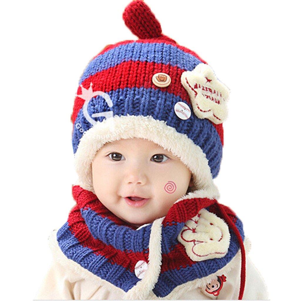 JT-Amigo Sciarpa e Berretto Cappello Invernale a maglia Bimba Bambina Disegni Baseball Blu & Giallo WinterHat005-LightBlue