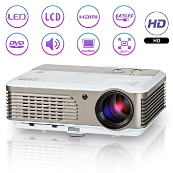 Portable HD LED 2600 lúmenes Proyector al Aire Libre Home Cinema ...