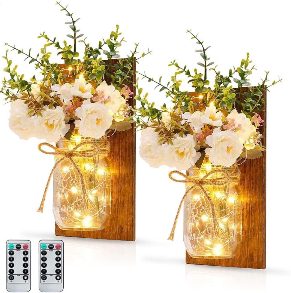 MMTX 2PCS Apliques Tarro de masón Decoración, Candelabro de Pared con Luces LED de Hadas e Flores Artificiales para Decoración Hogar Regalos Balcón Dormitorio Jardín Exterior Fiesta Navidad Bodas
