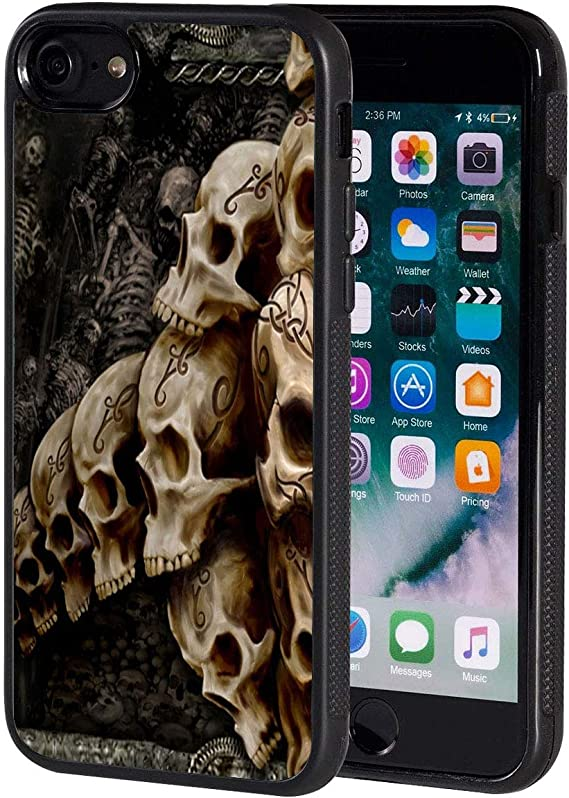 Amazon Com Iphone Se2 Case Retro Skull Pattern Anti Scratch Shock Proof Black Tpu And Pc Protection Case Cover For Apple Iphone Se 2020 4 7 Inch