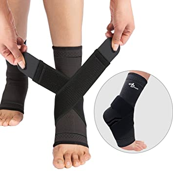 85d9ed90e8 Foot Sleeve (Pair) with Compression Wrap -Ankle Brace For Arch & Ankle  Support