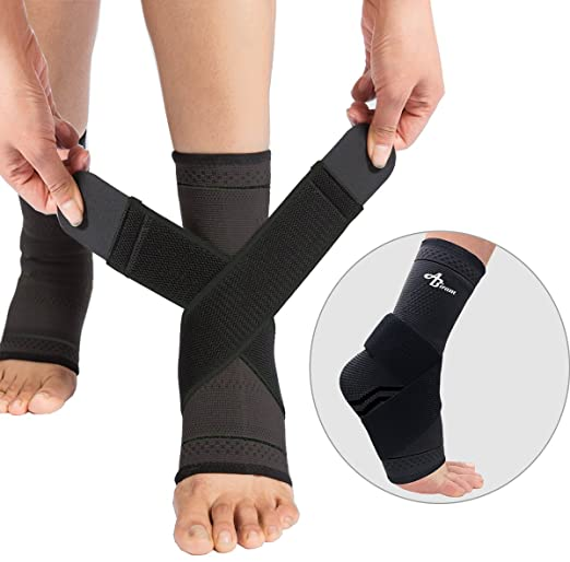 Foot Sleeve (Pair) with Compression Wrap -Ankle Brace For Arch & Ankle Support–Football, Basketball, Volleyball, Running -For Sprained Foot, Tendonitis, Plantar Fasciitis