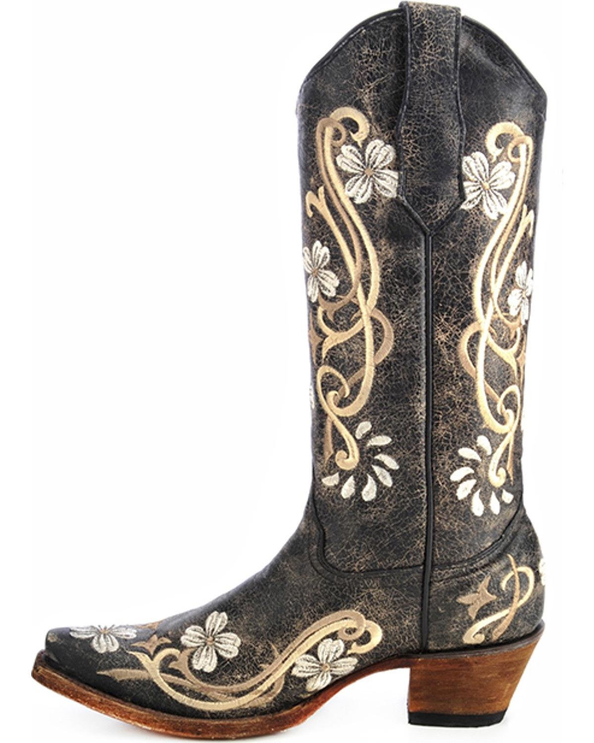5c74d1e2afb3 Amazon.com : Corral Circle G Women's Multi-Colored Embroidered Genuine  Brown Leather Cowgirl Boots : Shoes