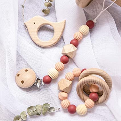 Natural Wood Baby Teether Toy Jewelry Nursing Necklace Wooden Elephant Pendant