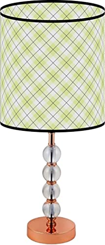 LampPix 23 Inch Custom Printed Table Desk Lamp Shade Lime Green Argyle Pattern. Includes Decorative Acrylic Round Stand
