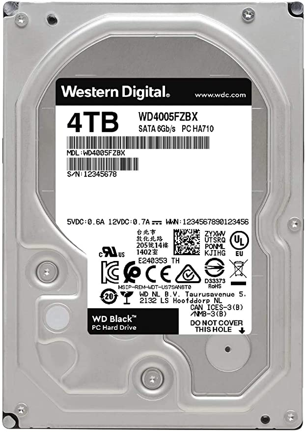 """Western Digital Hard Drive WD4005FZBX 4TB 3.5/"""" Desktop WD Black SATA 256M"""