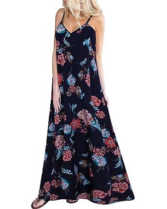 Damen Sommerkleider Blumen Maxi Kleid /Ärmellos Abendkleid Strandkleid Party Chiffon Lange Kleid