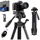 """KINGJOY 60"""" Camera Tripod with Carry Bag, Lightweight Travel Aluminum Professional Tripod Stand (5kg/11lb Load) with Bluetoot"""