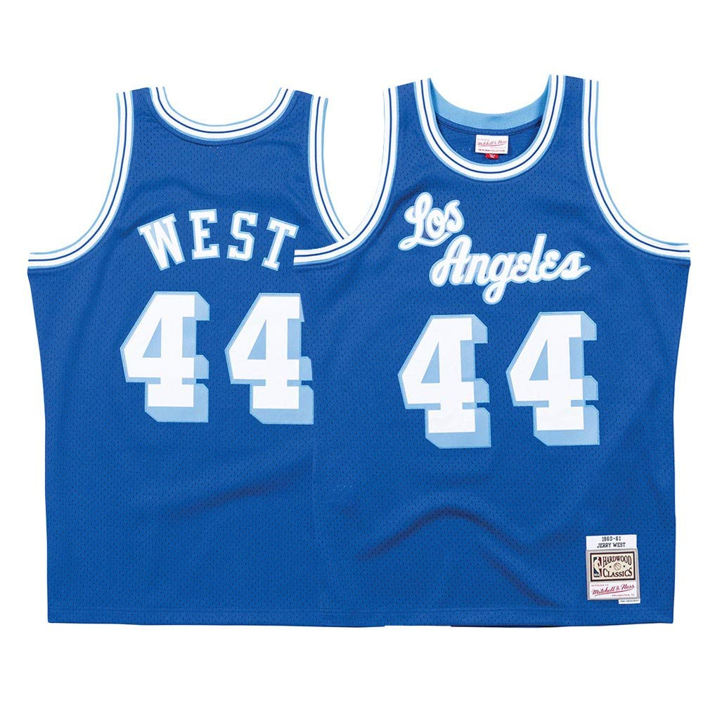 watch 943c9 2cc1e Mitchell & Ness Los Angeles Lakers Jerry West Throwback Road Swingman  Jersey Blue