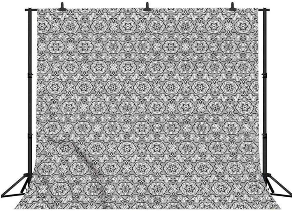 8x8FT Vinyl Photography Backdrop,Black and White,Monochrome Floral Background for Selfie Birthday Party Pictures Photo Booth Shoot
