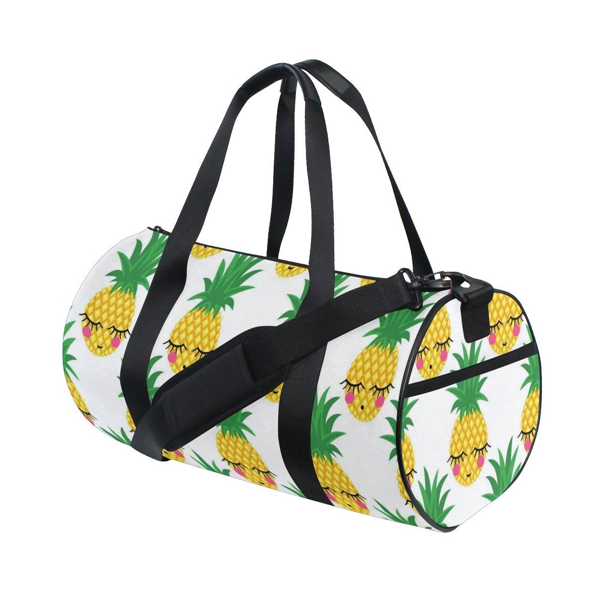 Naanle Smile Sleeping Pineapple Pattern Gym bag Sports Travel Duffle Bags for Men Women Boys Girls Kids