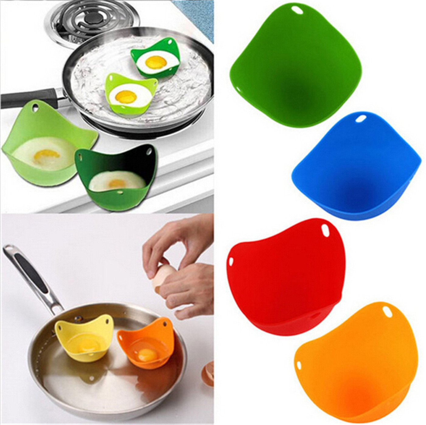Chinget Egg Poacher , Set of 4 Cooking Poached Eggs Thick Silicone Egg Molds