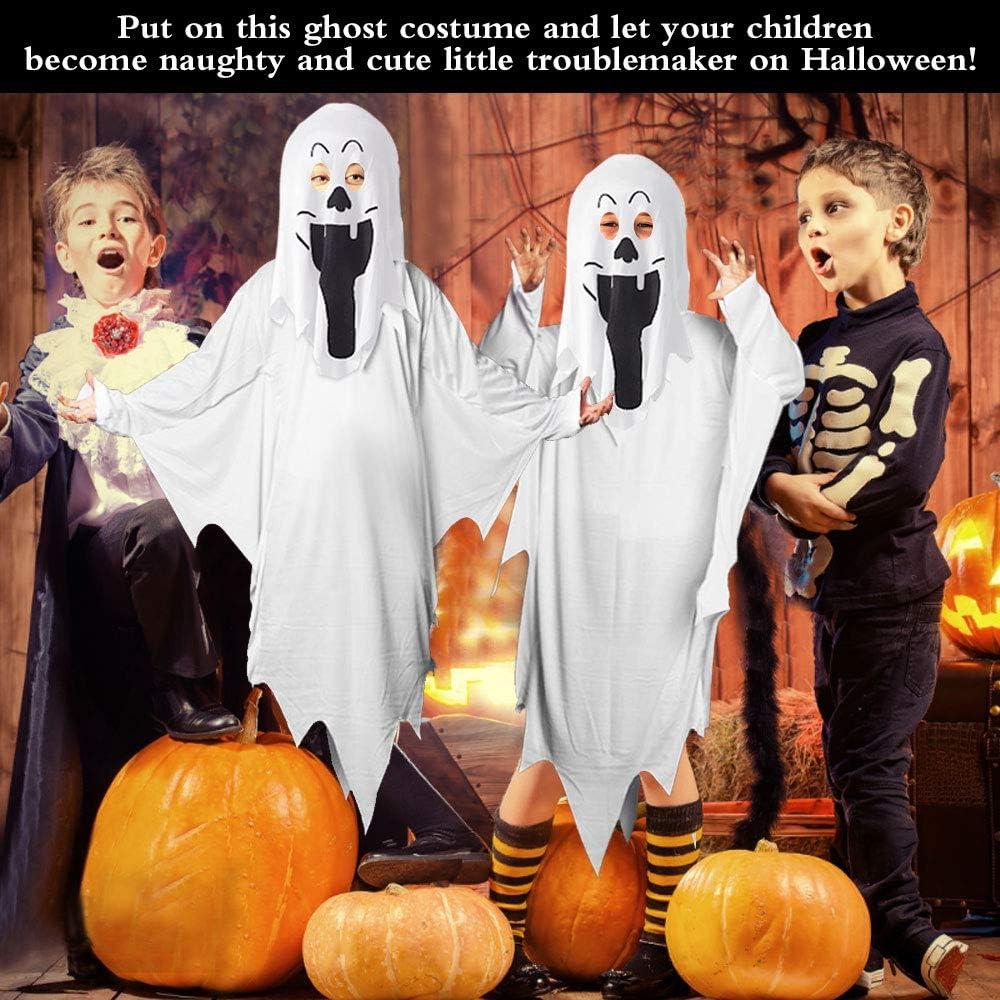 IGRMVIN Halloween Geist Kost/üm Kinder Cosplay Kinderkost/üm Halloween Gruseliges Kost/üm Kinder Schlossgespenst White Ghost Kost/üm f/ür Kinder Jungen M/ädchen Halloween Jungs wei/ß 90cm Lang