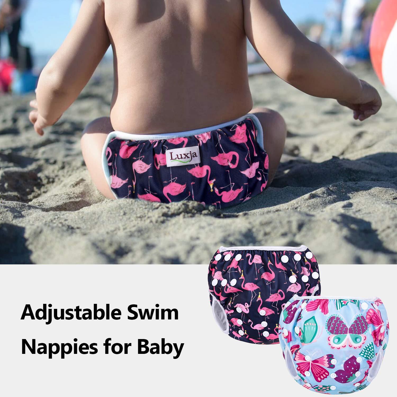 Waschbar Schwimmwindel f/ür Baby Baby Schwimmhose Verstellbarer 2 St/ück 0-3 Jahre Luxja Schwimmwindel wiederverwendbar