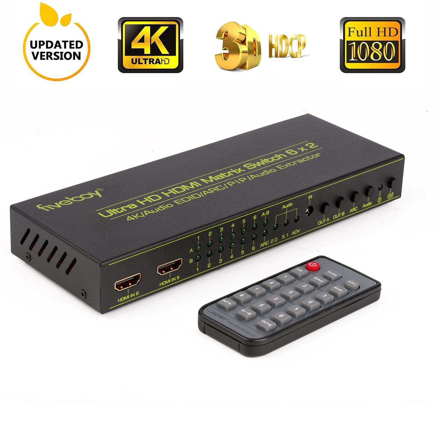 HDMI Matrix Switch (6-Input 2-Output), Fiveboy HDMI Audio Extractor with IR  Remote Control, Support PIP, ARC, 4Kx2K@30Hz, 3D for HD Displays, Home