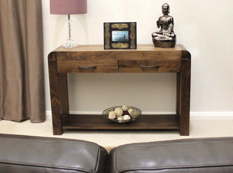 Baumhaus shiro walnut console table amazon kitchen home geotapseo Choice Image