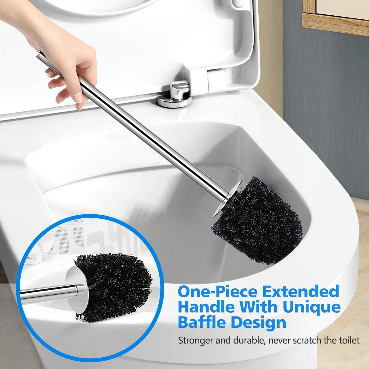 Upgraded 304 Stainless Steel Toilet Bowl Brush 2 Pack, Modern Toilet Brush and Holder with Durable Bristles