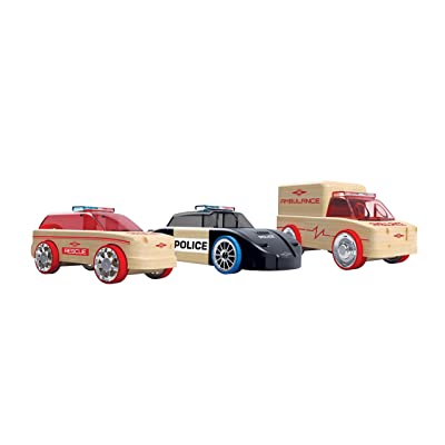 Automoblox Collectible Wood Toy Cars and Trucks—Mini S9 Police/X9 Fire/T900 Rescue 3-Pack (Compatible with other Mini and Micro Series Vehicles): Toys & Games
