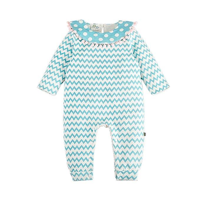 Bebone Mameluco Pelele Bebé Niñas Pijama de Rompers Manga Larga (Celeste,18-24M