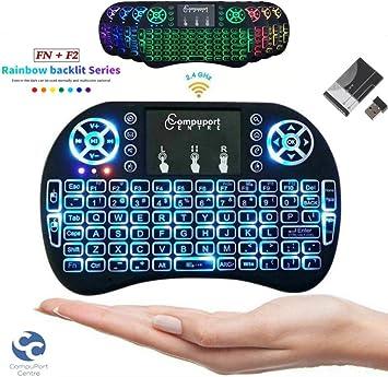 Mini Teclado inalámbrico (Rev/Plug and Play) con ratón Touchpad de 2,4 GHz Multicolor LED retroiluminado QWERTY Teclado para PC/Smart TV/Xbox 360/Ps3,4/Android TV Box/HTPC/Raspberry Pi: Amazon.es: Electrónica