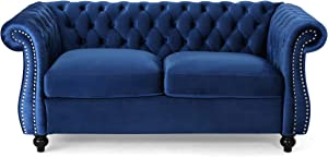 Christopher Knight Home 306027Karen Traditional Chesterfield Loveseat Sofa, Navy Blue and Dark Brown, 61.75 x 33.75 x 27.75