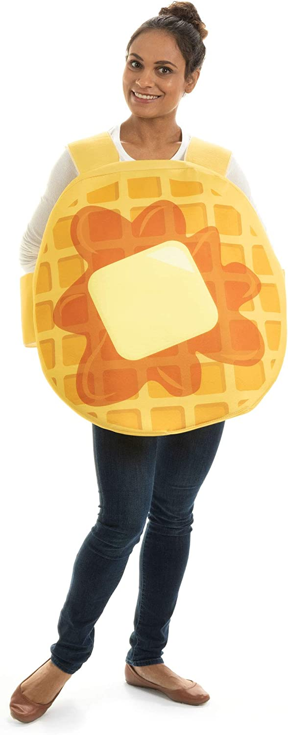 Adult Waffle Halloween Costume - Funny Breakfast Food Suit - One-Size Unisex Brown