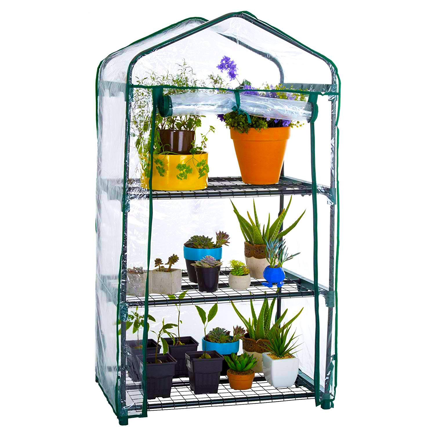 WZTO 3-Tier Mini Greenhouse, Portable Mini Garden House with Warm Clear PVC Cover for Indoor/Outdoor Growing Seeds & Seedlings, Tending Potted Plants Flower Zipper Roll Up Front