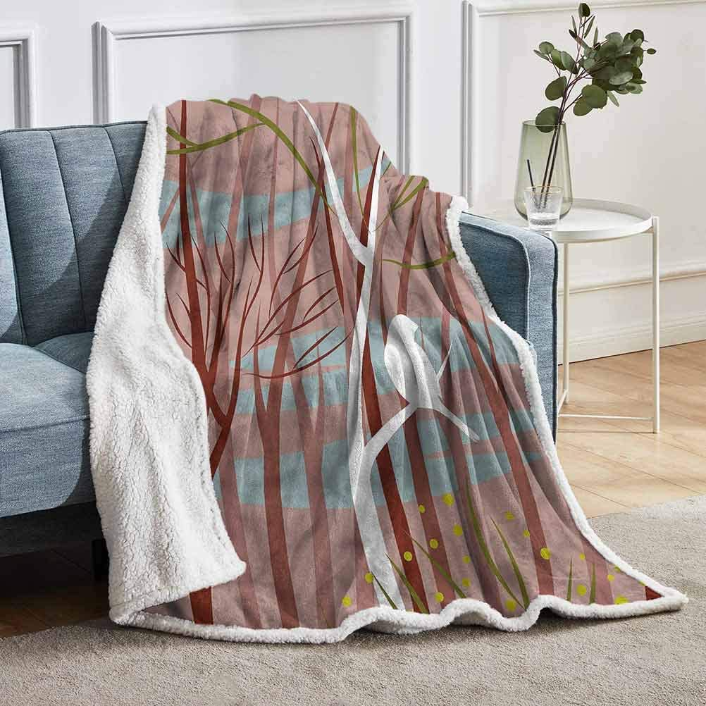 """YUAZHOQI Forest Sherpa Fleece Throw Blankets Bird on Leafless Branch Home Decor Perfect for Couch Sofa Beds 51"""" x 71"""""""