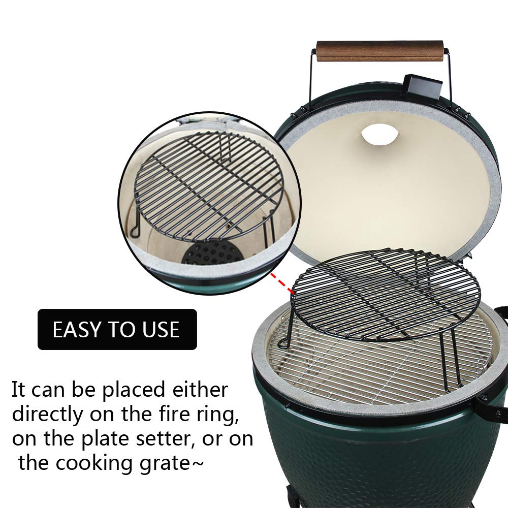 BBQ Grill Extender Rack,Kamado Warmer Rack,Stack Rack with enamel coating Increase Grilling Surface Fit Large & XL Big Green Egg,Kamado Joe Classic,18'' & bigger cooking-diameter grill (L-15 inch) by Dracarys (Image #4)