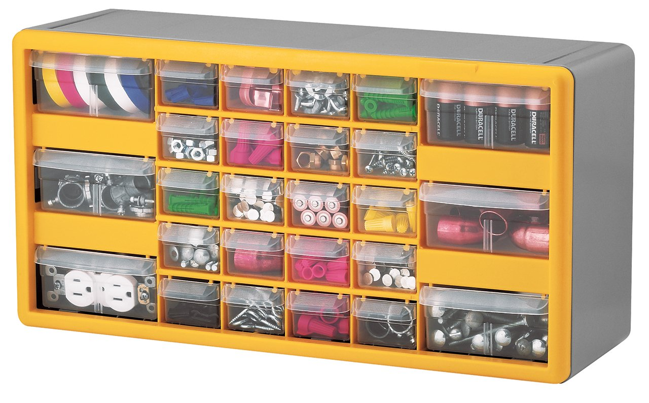 Akro-Mils 10726 26-Drawer Plastic Parts Storage Hardware and Craft Cabinet, 20-Inch by 10-1/4-Inch by 6-3/8-Inch, Yellow/Grey