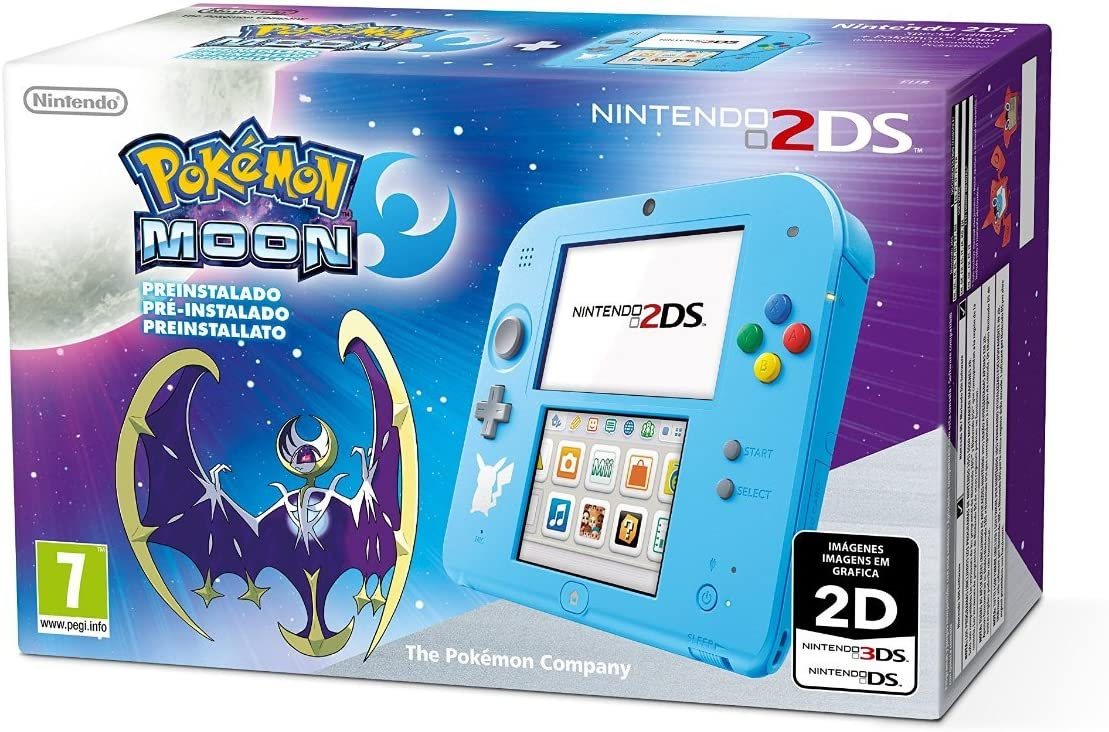 Nintendo 2DS - Consola, Color Azul + Pokémon Luna (Preinstalado): Amazon.es: Videojuegos