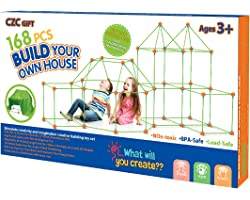 Kids Fort Building Kit 168 Pieces Construction STEM Toys for 3 4 5 6 7 8 9 10 11 12 Years Old Boys and Girls Ultimate Forts B