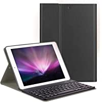 Robustrion Smart PU Leather Folio Case Cover with Wireless Bluetooth Keyboard iPad 9.7 Inch 2018/2017 6th & 5th Generation - Black