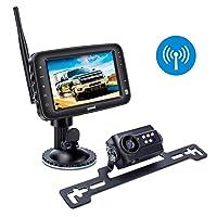 Wireless Backup Camera System, IP69k Waterproof Wireless License Plate Rear View...