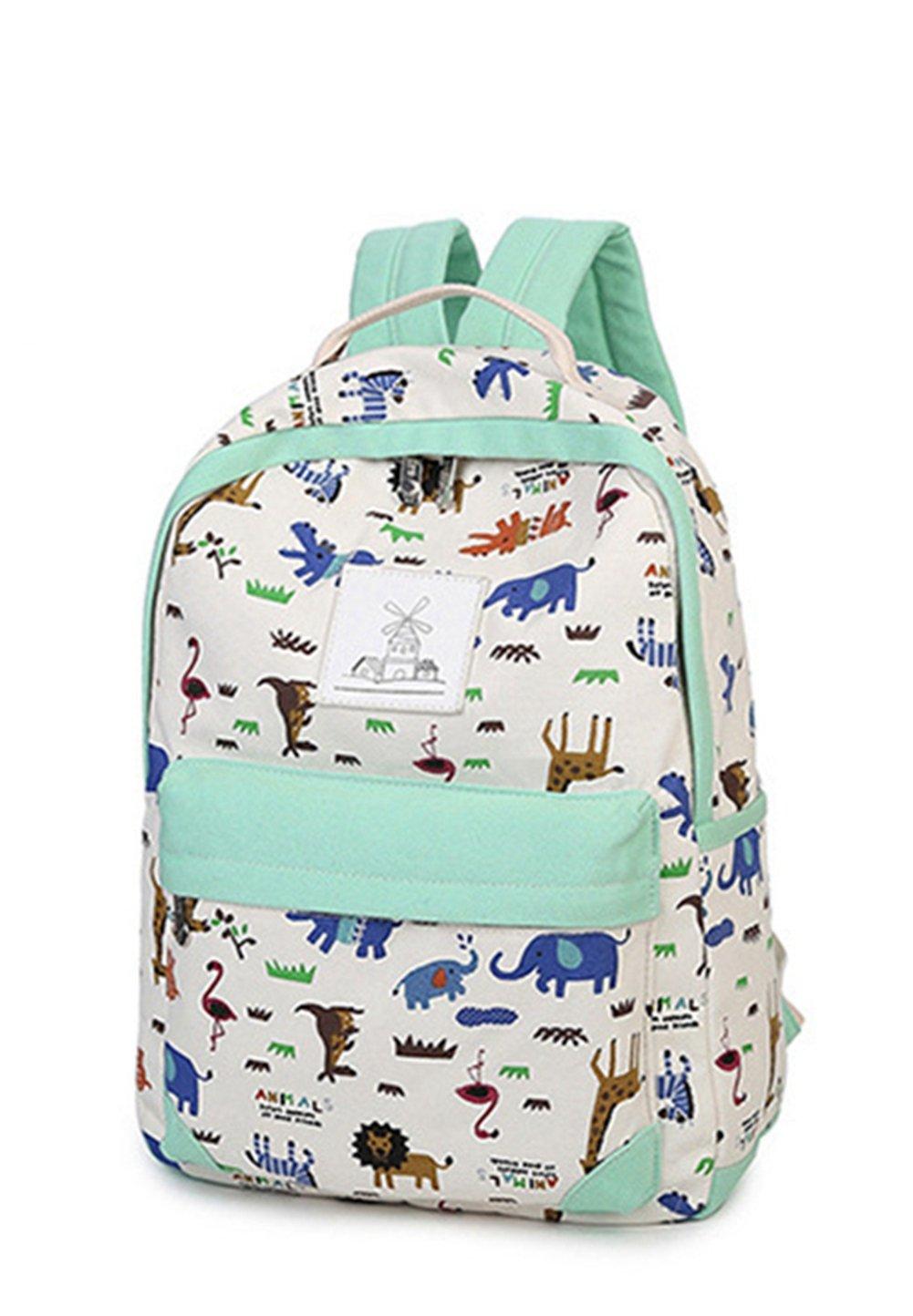 Zehui Women bags Backpack Girl Shoulder Bag Rucksack Canvas Travel School bags Set Green Green
