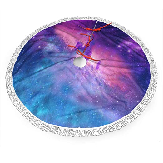 UKFaaa - Falda para árbol de Navidad, diseño de Galaxia con Flecos ...