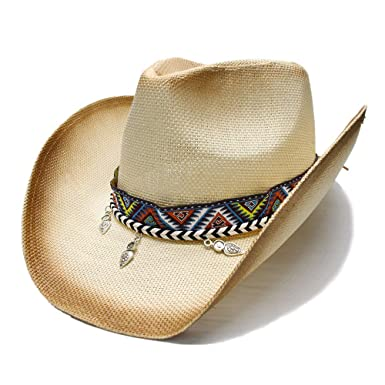 2131aa22 Amazon.com: VAXT Guide Women Men Straw Westerly Cowboy Hat with ...