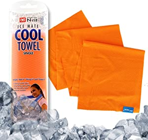 N-rit Cooling Sport Towel, Ice Mate Cool Towel [Orange] [Highly Advanced Cooling Effect] Cool Towel- Golf Towel, Gym Towel, Yoga Towel Designed for All Sports Players