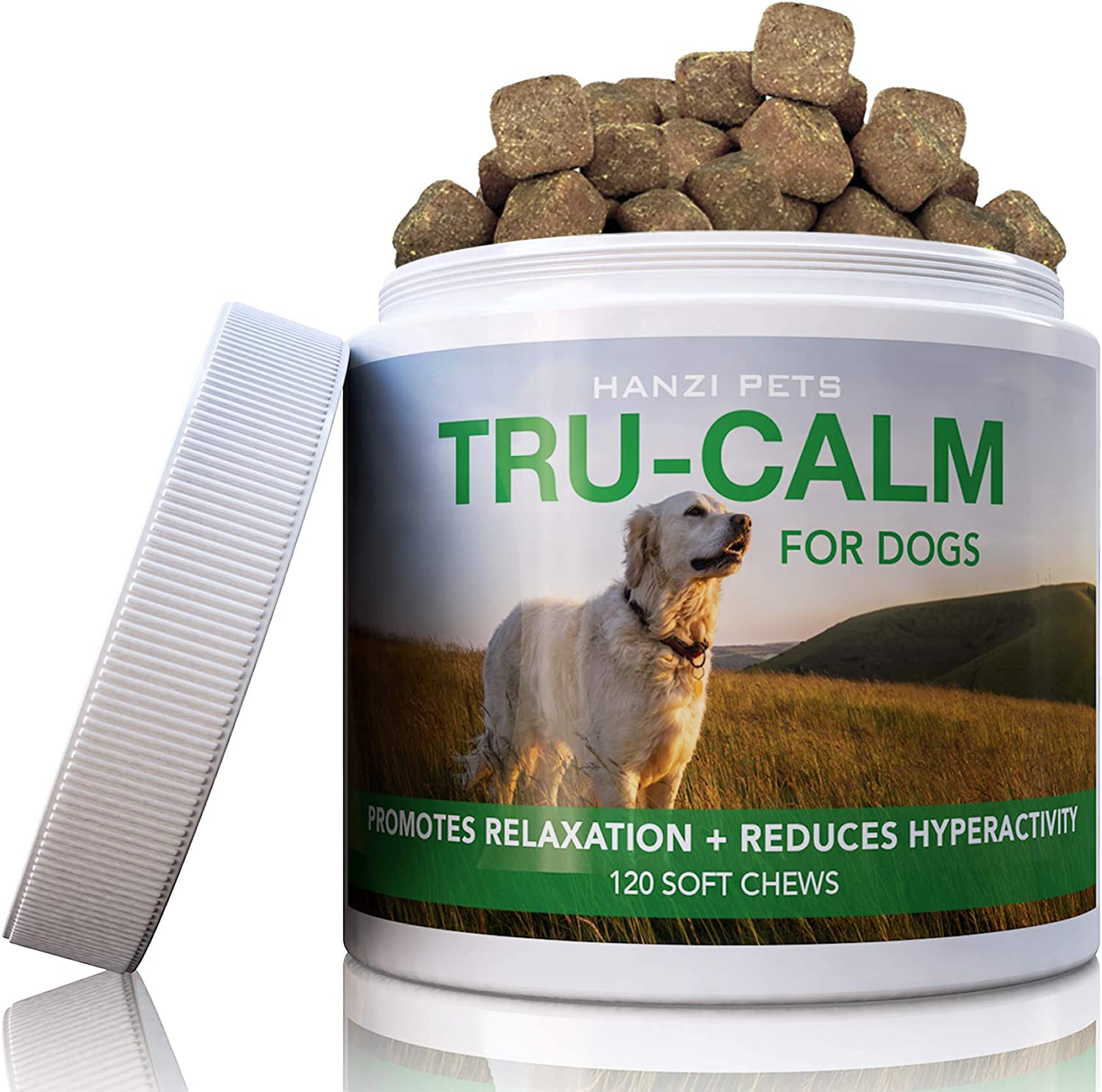 Hanzi Pets #1 Calming Aid for Dogs | for Hyperactive & Aggressive Behavior | Stress & Separation Anxiety | Travel & Motion Sickness | cGMP Certified | Made in USA | 120 Savory Soft Chews