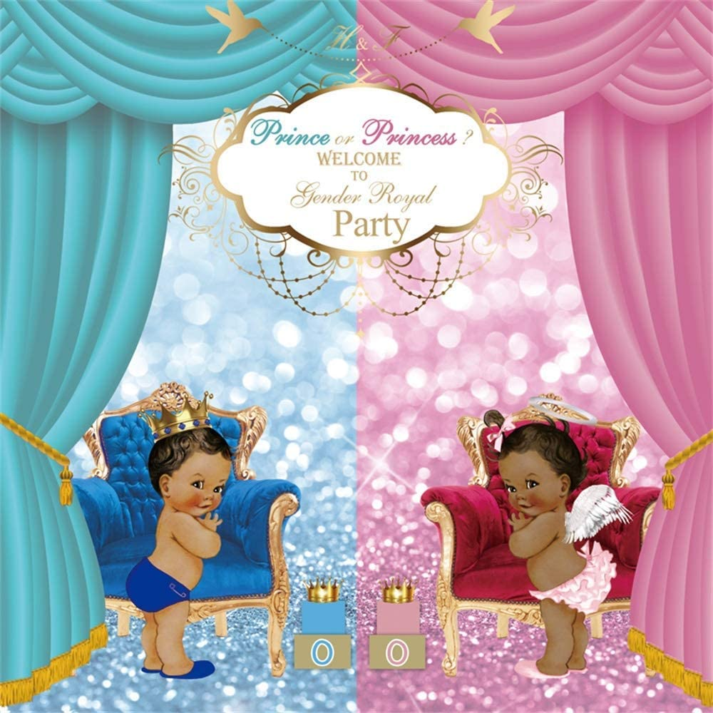 5x5ft Welcome to Gender Royal Party Baby Shower Backdrop Vinyl Cute Cherub Girl Princekin Bokeh Glitter Haloes Photography Background Prince Or Princess Gender Reveal Party Banner Studio