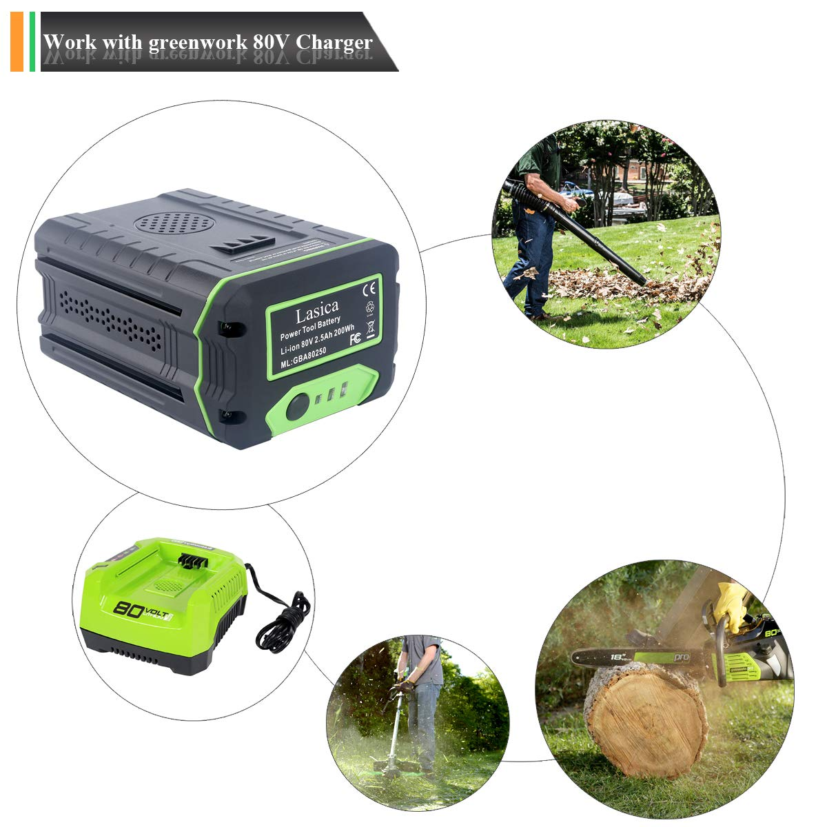 Lasica Replacement GBA80250 Greenworks 80V Lithium Battery for Greenworks  80-Volt Collection Cordless Power Tools Li-ion Battery GBA80400 GBA80200