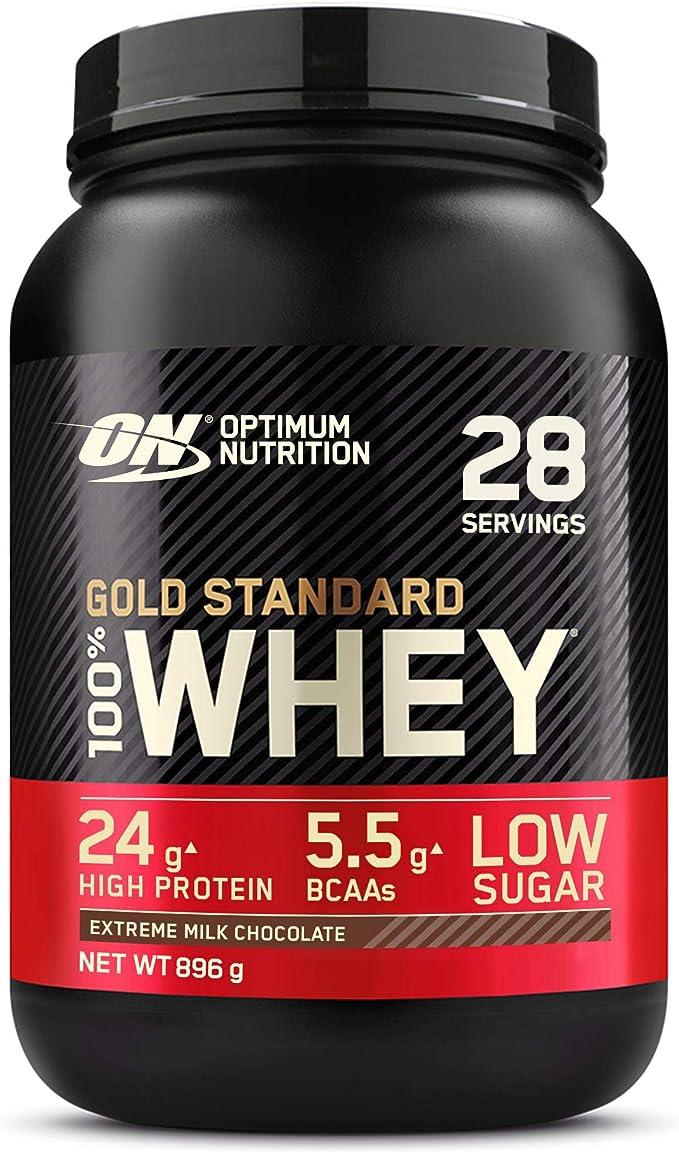 Optimum Nutrition Gold Standard 100% Whey Proteína en Polvo, Glutamina y Aminoácidos Naturales, BCAA, Extremo Chocolate, Leche, 28 Porciones, 896 g, ...